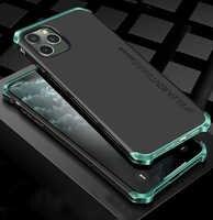 Luxo à prova de choque armadura elemento caso de metal para iphone x xs xs max xr casos de alumínio duro pc volta capa para iphone 11 pro max