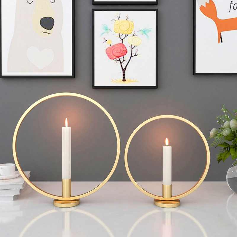 Ring Shape Metal Iron Candle Holder Decorative Candlestick for Party Wedding Dining Centerpiece Table Ornaments Home Decor
