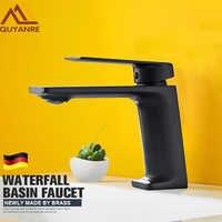 Quyanre Matte Black Basin Faucet Bathroom Washbasin Water Crane Mixer Tap Waterfall Basin Mixer Tap Single Handle Sink Faucet