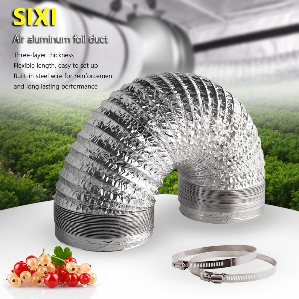 """4"""" 5"""" 6"""" 8"""" 10"""" 12.5"""" 5m/ 16 Feet Flex Air Aluminum Foil Ducting for Grow tent& Air Carbon Filter w/Two Stainless Steel Clamps(China)"""
