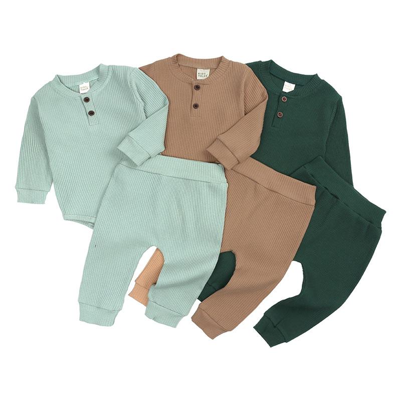 Casual bebê menino roupas definir primavera bebê recém-nascido roupas da menina outfits manga longa macacão + calças roupas infantis 9-24 meses