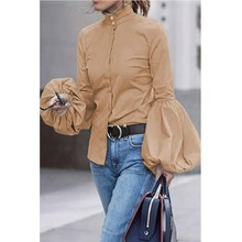 Ladies Office Shirt Autumn Blouse Women Sexy Lantern Sleeve Casual Tops Blusas