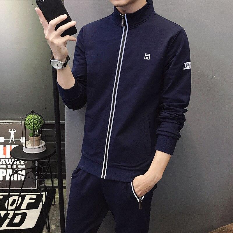 2019 Autumn Men Leisure Set Men's Long-sleeved Cardigan Trousers Korean-style Fashion Youth Sports Two-Piece Set Fashion