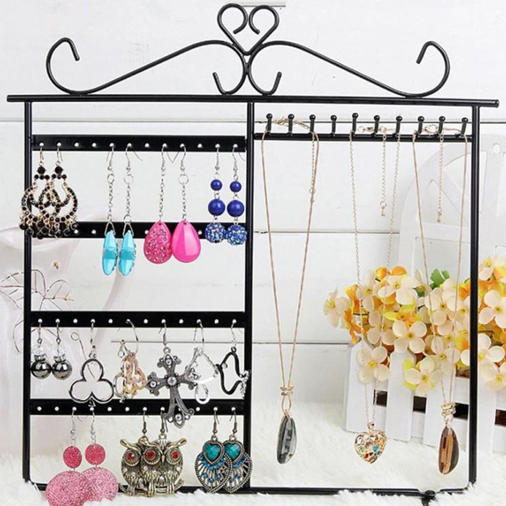 48 Hole Earring Holder 10 Hooks Necklace Display Rack Metal Iron 4 Layers Ear Studs Earrings Hanging Storage Jewelry Organizer