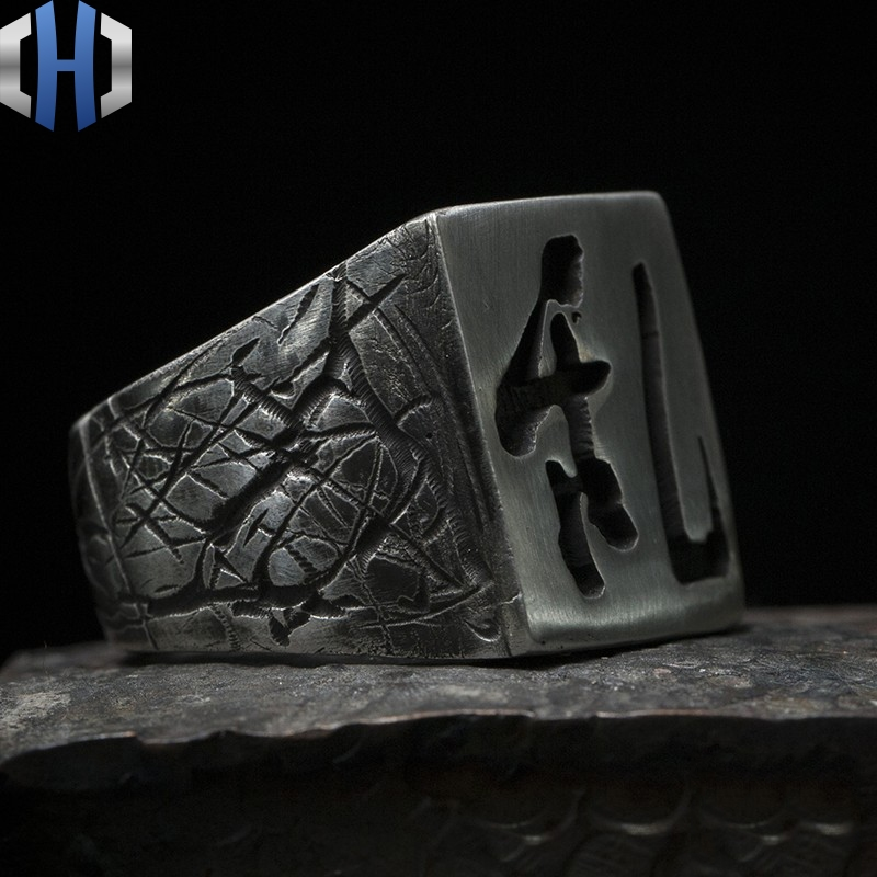 Original Design Handmade Silver Sakura Black Box Ming Ring 925 Sterling Silver Men And Women Ring in Rings from Jewelry Accessories