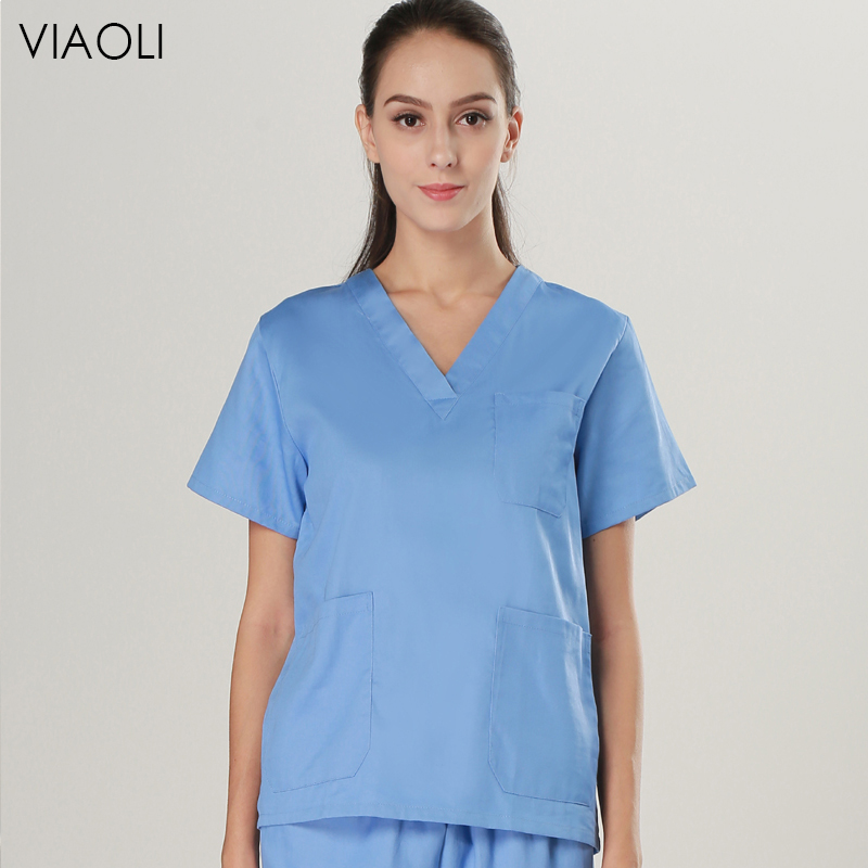 Viaoli Summer Unisex Short Sleeve  Pharmacy Nurse Uniform Hospital Doctor Lab Oral Dental Surgery Uniform Medical Scrubs Set Spa