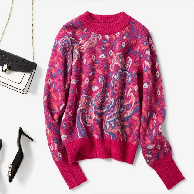 Autumn Winter Women's Sweater Knitted Jacquard O-neck Long Sleeve Casual Female Knitwear Pull Tops