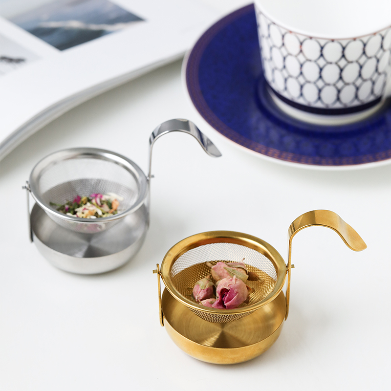 Gold Mesh Tea Infuser Reusable Tea Strainer Metal Cup Strainer Teapot Stainless Steel Loose Tea Leaf Spice Filter Drinkware Tool
