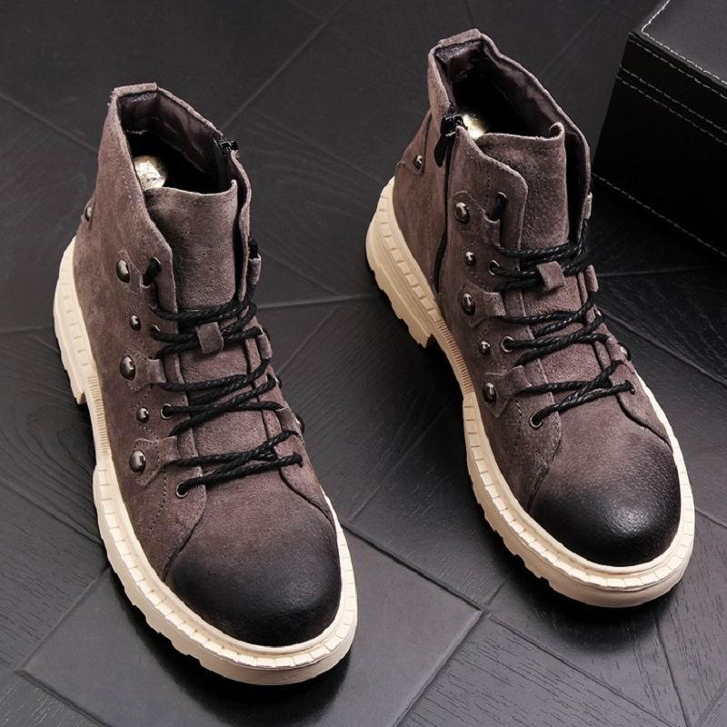 Estilo europeu dos homens preto botas casuais moda rebites foward porco camurça homem botas de tornozelo curto laço acima sapatos de segurança trabalho