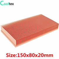 COOLTEX 150x80x20mm Pure Copper Heatsink Radiator Skiving Fin Heat Sink for Electronic Chip LED Power Amplifier Cooling Cooler