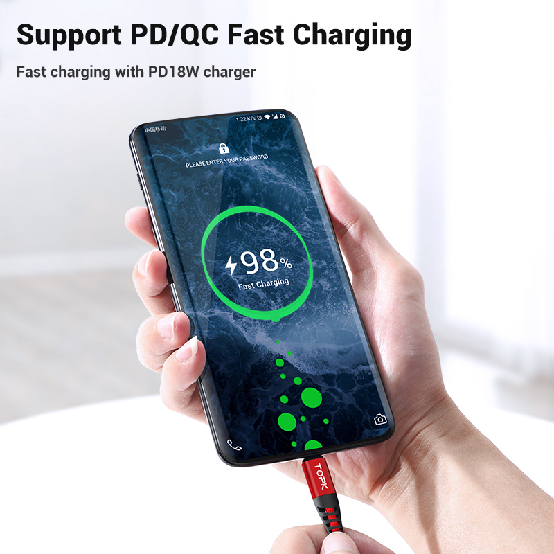 TOPK 1M 60W USB Type C Cable to USB C Cable for Samsung S10 Huawei Xiaomi Oneplus PD QC3 0 Fast Charge Data Cable Type C Cable in Mobile Phone Cables from Cellphones Telecommunications