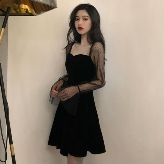 Dresses for women Black Dress Lace Sexy Gothic Vintage Dress Women Elegant Evening Party Club A line Puff sleeve Vestidos