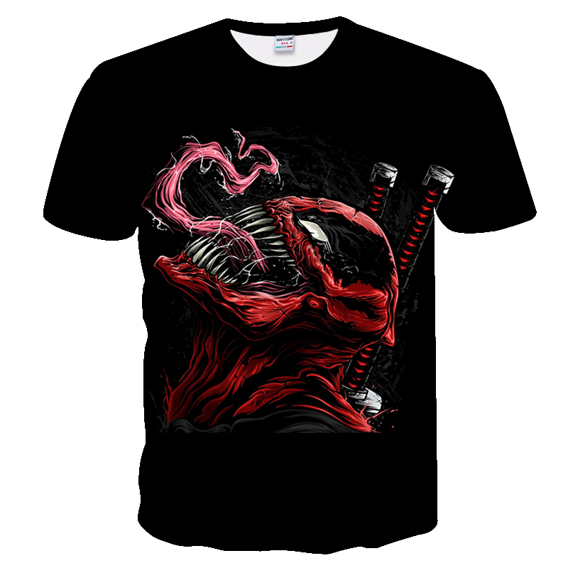 Warrior Pattern O-Neck T-Shirt Black Loose Tees Venom Marvel 3D Printed T-shirts For Men Women Summer Funny Casual Clothes