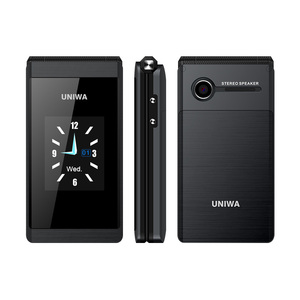 Image 3 - UNIWA X28 double écran rabat Senior bouton poussoir téléphone portable écriture à clapet téléphone portable russe clavier téléphone