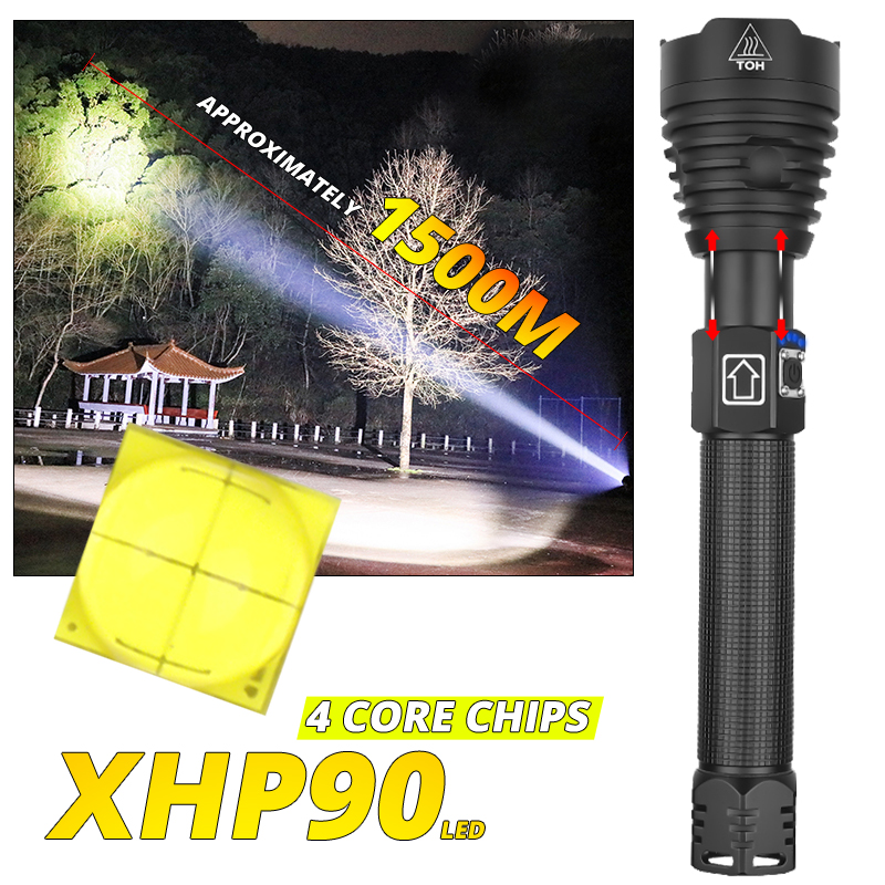 Most Powerful XHP90 LED Flashlight Zoom Tactical Torch XHP70 USB Rechargeable Waterproof Lamp Use 26650 For Camping