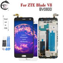 كامل LCD ل ZTE بليد V8 LCD BV0800 شاشة عرض مع الإطار اللمس الاستشعار محول الأرقام الجمعية ل ZTE V8 فولت 8 عرض AAAquality