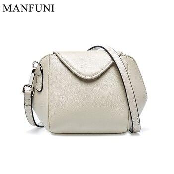 Fashion 100% Real Cow Leather Handbag Women Messenger Bag Black Crossbody Bag Purse Shell Shape Small Bags Female Shoulder Bag