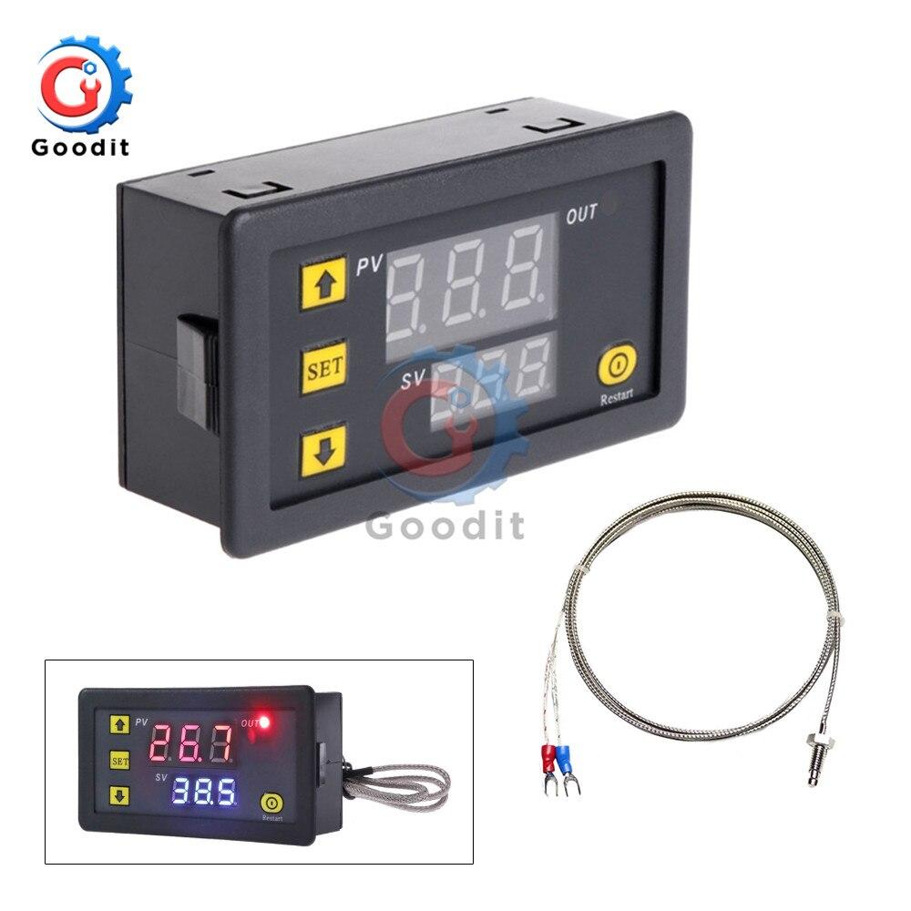 Цифровой светодиодный переключатель контроля высокой температуры, термостат, термометр типа K, термопара, 5 В, 12 В, 24 В переменного тока, 200-60 ~ ...