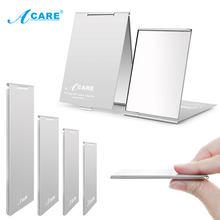 ACARE-Espejo de maquillaje plegable ultrafino, personalizado, portátil, compacto, cosmético, de bolsillo, rectangular, plegable