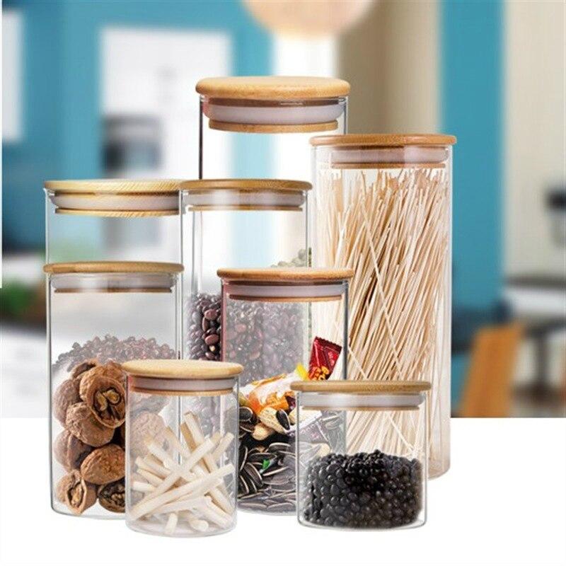 Кухня контейнер для хранения стекло уплотнение цилиндрический горшок пищевая бутылка для хранения с деревянной крышкой Чай Канистра сухоф...