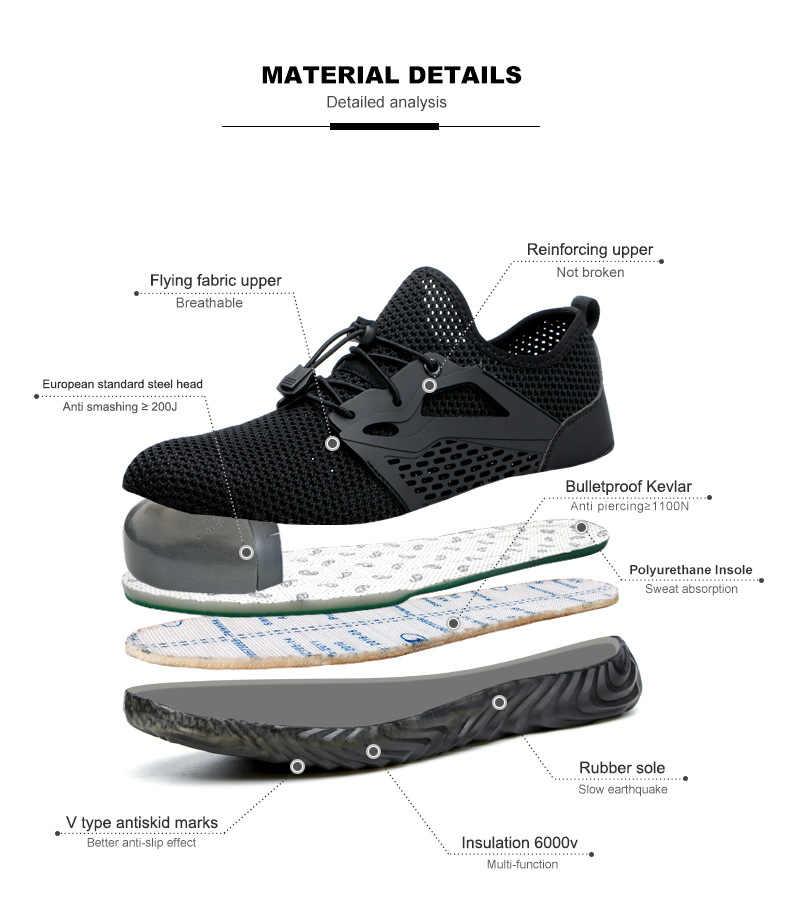 Dropshipping, zapatos de trabajo indestructibles, hombres y mujeres, punta de acero, botas de seguridad de aire, zapatillas de trabajo a prueba de pinchazos, zapatos transpirables