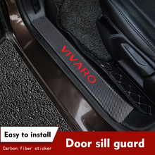 4PCS/set Carbon Fiber Car Door Sill Protective Decals for Opel Vivaro Stickers Auto Accessories