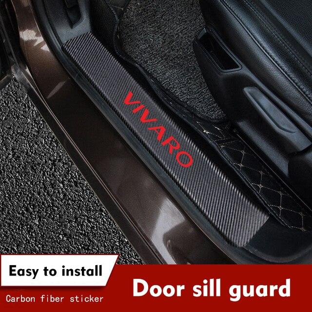 4PCS/set Carbon Fiber Car Door Sill Protective Decals for Opel Vivaro Car Stickers Auto Accessories