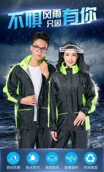 Outdoors Waterproof Nylon Raincoat Jacket Pants Set Plastic Raincoat Men Long Thick Capa De Chuva Moto Outdoor Rain JJ60YY