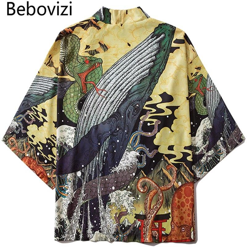 Bebovizi Fashion Japanese Anime Style Whale Print Kimono Women Cardigan Yukata Kimono Streetwear Men Loose Asian Clothing