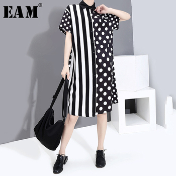 [EAM] Women Striped Dot Printed Big Size Shirt Dress New Lapel Short Sleeve Loose Fit Fashion Tide Spring Summer 2020 1S542