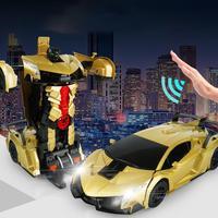 Transform Car Robot Toy Children Transforming Robot Remote Control Car One Button Transformation 1:12 Scale Car Robot Toy