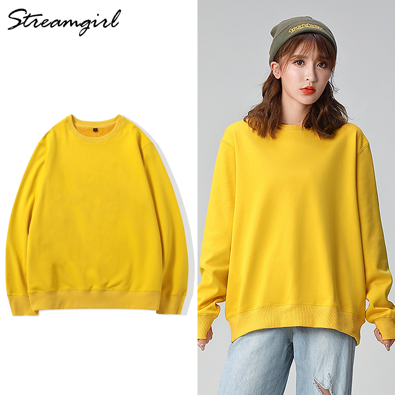 Oversize Sweatshirt Women Pullover Plus Size Spring Autumn Solid Yellow Women Sweatshirt Cotton Thin Sweatshirts Ladies 2020