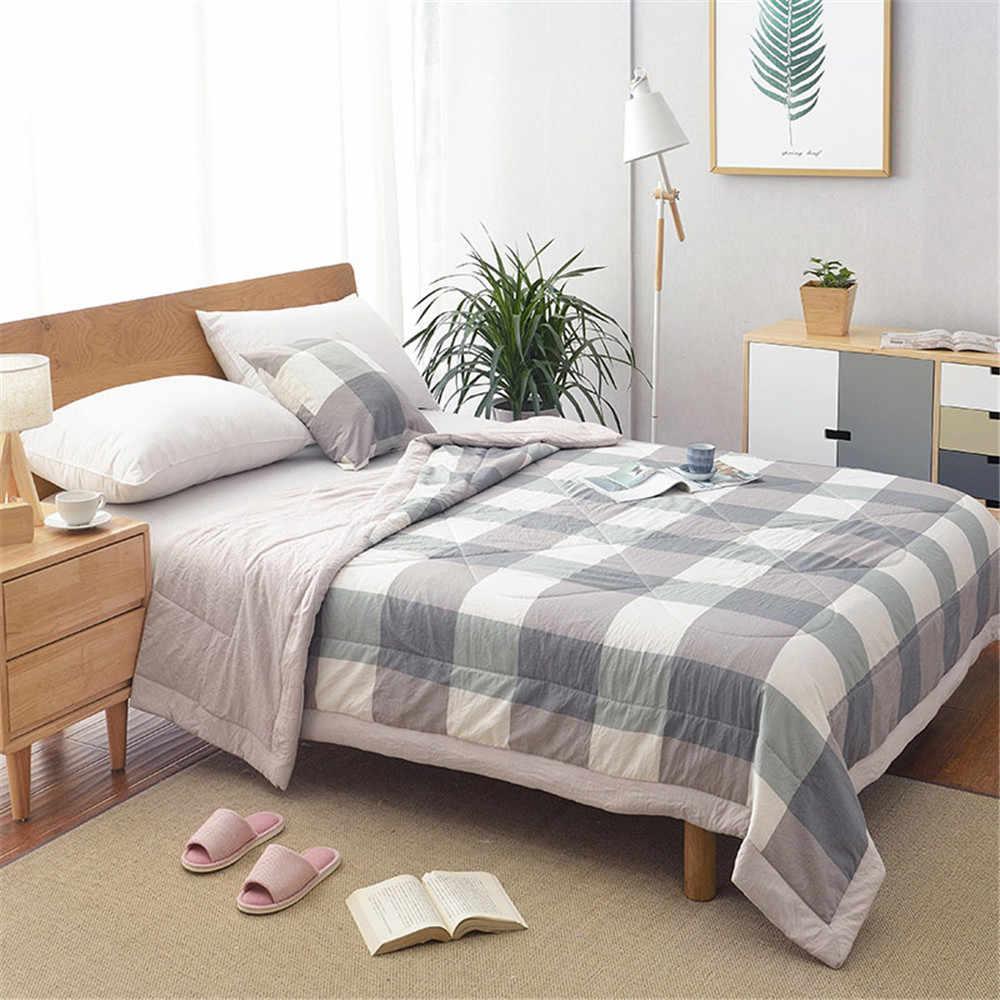 Cobertor de ar condicionado, cobertor de algodão lavado de verão, macio, respirável, xadrez de listras finas, capa de edredon de cama