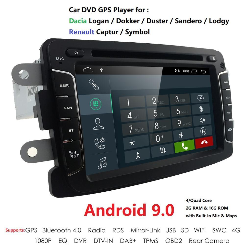 4GFree Shipping!Android 9.0 Car GPS Navigation For Dacia Renault Duster Logan Sandero Car DVD Multimedia Player Radio DVR BT RDS