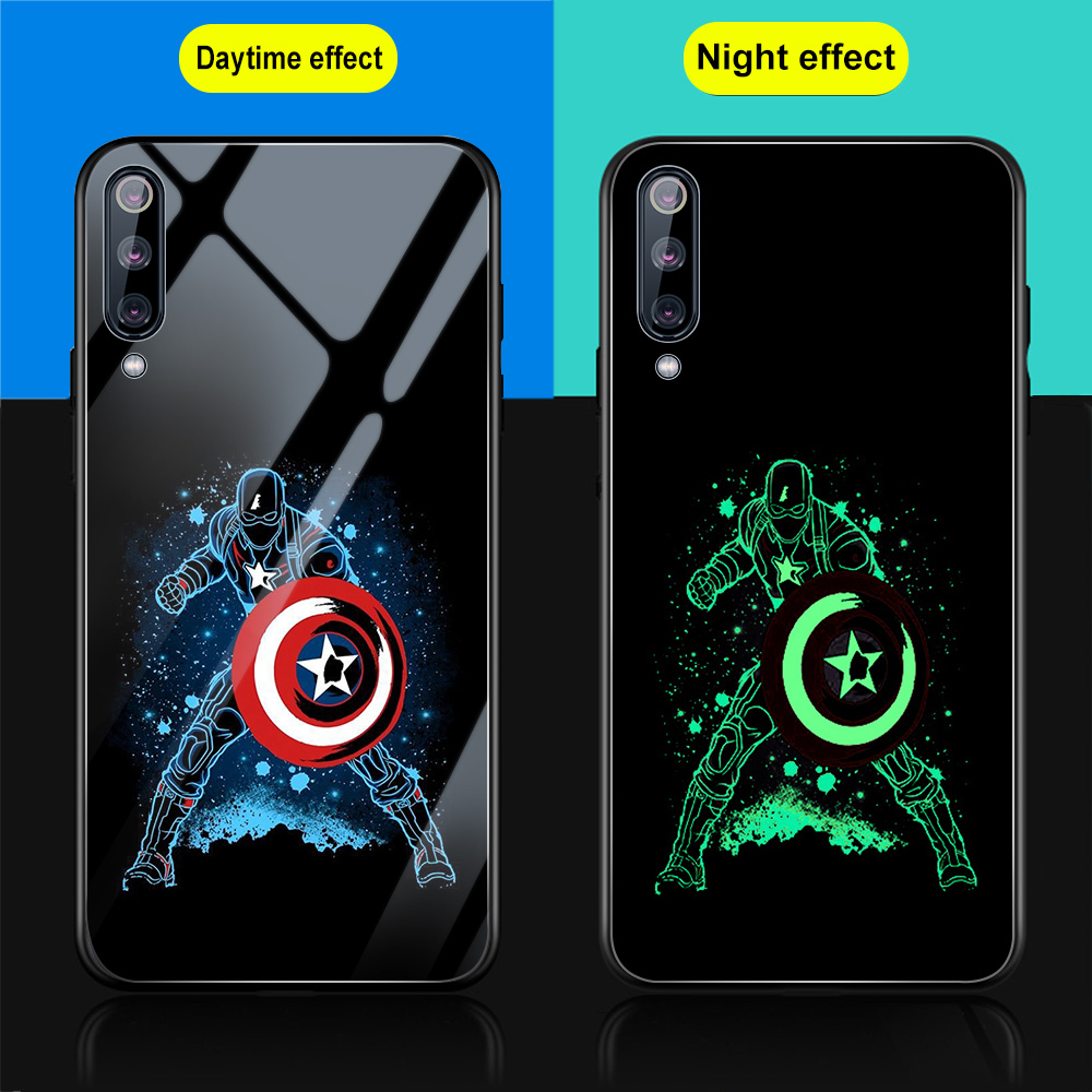 Glow In The Dark Glass Cases for <font><b>Xiaomi</b></font> <font><b>Mi</b></font> A3 A2 A1 9 8 6 9T Lite Pro SE Pocophone F1 6X 5X CC9 CC9e Cover <font><b>Funda</b></font> Marvel Avengers image