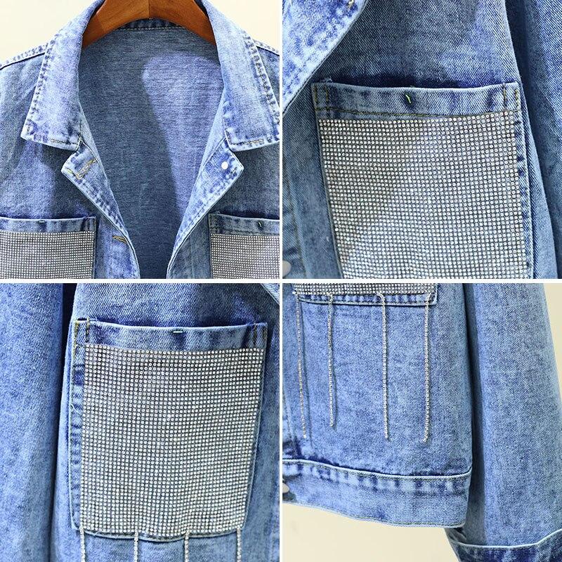 Cowboy Jacket Women Autumn New Heavy Work Diamond Tassel Pocket Loose Long Sleeve Casual Jean Jackets and Coat Womens Coats