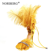 Fashion new Crystal Tassels Feather Decoration Women Sandals Open Toe Super Thin High Heels Party Shoes Woman wedding shoes недорого