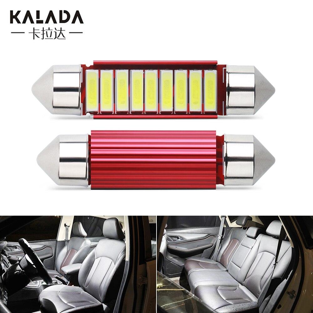 2x c5w c10w festão 31 36 39 41mm led luzes do carro 7020 6smd de alumínio vermelho lâmpada da placa de licença 12v 6000k diodo branco