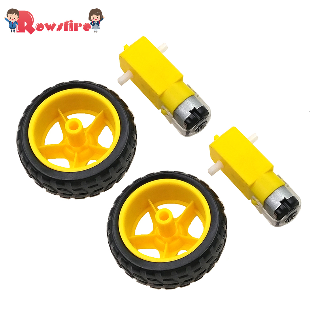 2Pcs Small Smart Car Tyres Wheel Robot Chassis Kit With DC Speed Reduction Motor