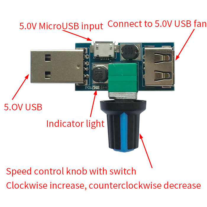 5V DC Mini USB Fan Governor Wind Speed Controller Air Volume Regulator Cooling Mute Multi Function Fan Speed Switch Module