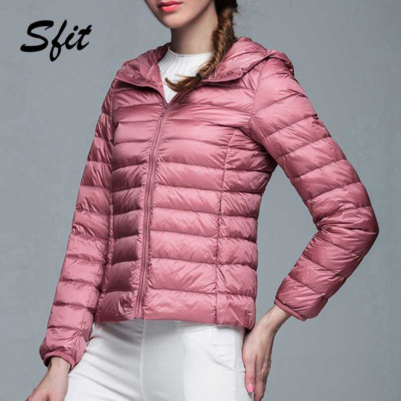 Sfit 2019 Women Autumn Winter Casual Ultra Light White Duck Down Jacket Warm Coat Lady Plus Size Jackets Female Hooded Parka New