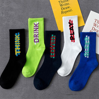 Socks Men And Women Stocks Couples Tide Autumn New Letters Cotton Hip Hop Street Sports