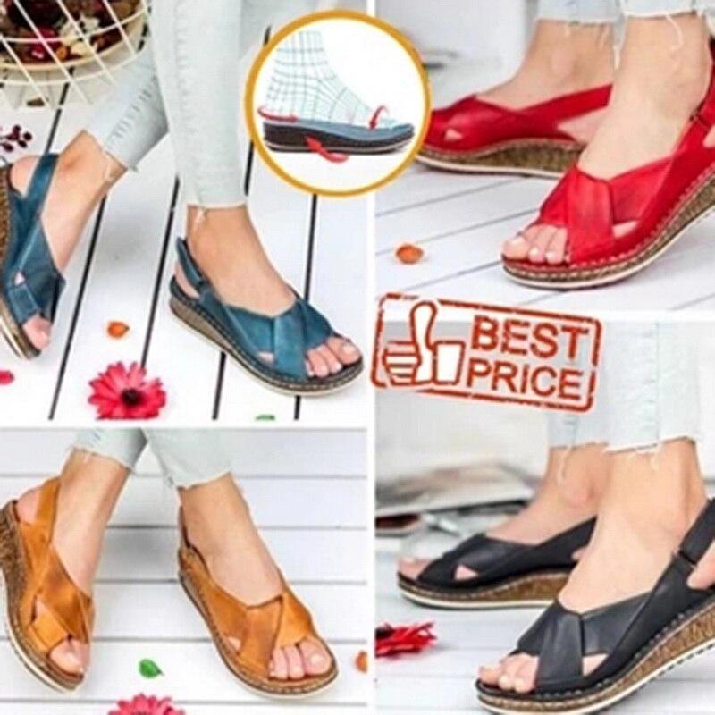 MoneRffi Women Sandals Summer 2020 Female Shoes Woman Peep-toe Wedge Comfortable Sandals Slip-on Flat Sandals Female Sandalias 2