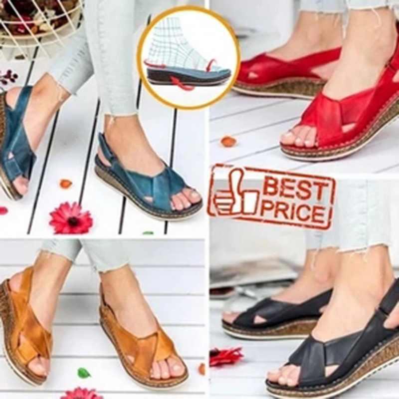 MoneRffi ผู้หญิงรองเท้าแตะฤดูร้อน 2020 หญิงรองเท้าผู้หญิง Peep-Toe WEDGE รองเท้าแตะ SLIP-ON รองเท้าแตะแบนหญิง sandalias