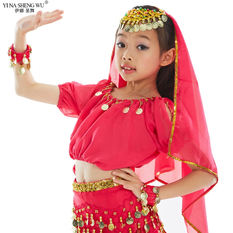 Kids Belly Dance Costume <font><b>Bollywood</b></font> Oriental Bellydance Dress Set Indian Egyptian Egypt Carnival Costume Girls <font><b>Top</b></font> Pants Clothing image