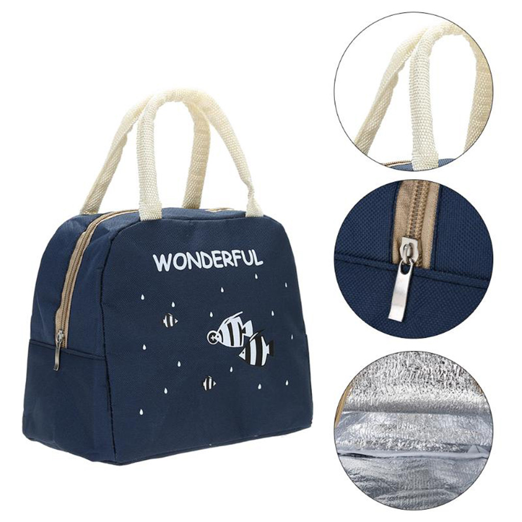 Portable Lunch Bag Cartoon Insulated Lunch Bag Food Pouch Student Insulated Thermal Cooler Bento Lunch Box Tote Bolsa Termica