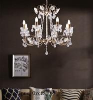Luxo europeu de prata lustre cristal sala estar jantar quarto francês romântico led flor lustre cristal
