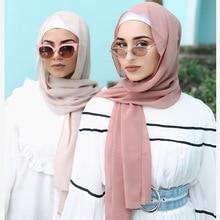 Kaliteli uzun şifon Sarves hicap kadınlar düz renk kafa şal İslam kadınlar için müslüman başörtüsü şal phasmina 175*70cm