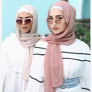 Image 1 - Sartenes de chifón largo para mujer, de Color liso hijab, chal para cabeza para mujer islámica, pañuelo musulmán, envoltura de phasmina 175*70cm