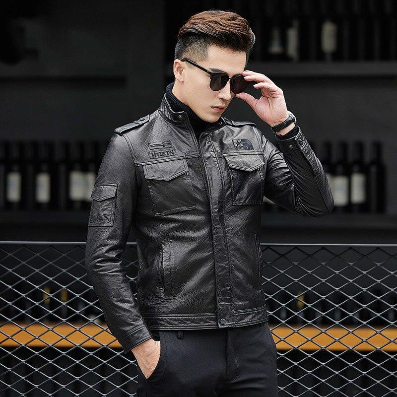 Genuine Leather Jacket Men Short Sheepskin Coat Motorcycle Bomber Jacket Slim Korean Men's Leather Jacket 2858 KJ1617
